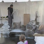 Ice carving with a chain saw