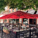 Stella's outdoor patio seating in the summer of 2017.