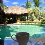 Coffee by the pretty pool