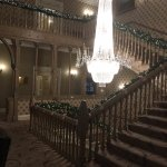 Classic staircase and chandelier