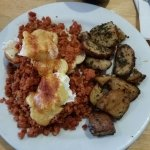 Fantastic breakfast. Ovos Acores Portuguese muffin topped chourico, poached eggs, pepperjack che