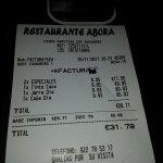 bill for dinner