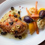 """""""lose the blues"""" chicken with roasted vegetables"""