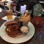 Pulled Pork Sandwich Fries and local Beer YummY