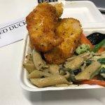 Combo Box of chicken schnitzel, creamy mushroom pasta and steamed veg