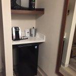 Microwave, fridge & coffee machine