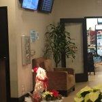 Hotel shop & screen showing LAX flights
