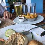 crabback, nutmeg chutney & fried breadfruit at BB's Crabback
