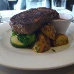 Medium well done, Eye Fillet Steak with Vegies and gravy