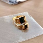 Custom gold-plated rings with emerald / tourmaline stone