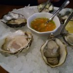 A mix of Japanese raw oysters. Mignonette is tart & delicate!
