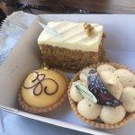 Carrot cake, banoffe pie and lemon tart.