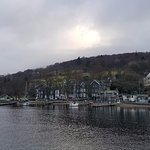 view of the hotel from the departing ferry to Bowness.