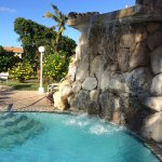 feature waterfall at pool