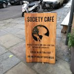 Sign outside the cafe