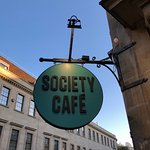 Sign on the cafe