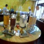 Muesli, nuts, fresh milk etc. are n this table
