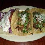 Left to right, mahi mahi and 2 carnitas tacos
