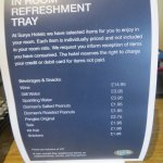 Refreshment tray price list