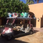 golf cart decorated for Christmas