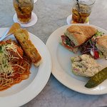Spaghetti and Antipasto sandwich w potato salad