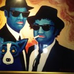 Blues Bros with the blue dog