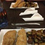 Ling and garlic potatoes
