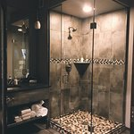 Large walk-in shower & roomy counterspace,