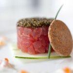Tuna Tartare with Osetra Caviar, cucumber, crème fraîche & salmon roe