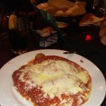chicken parm. with pasta in a side dish. unlimited salad and breadsticks.