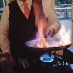 Bananas foster flambeed tableside