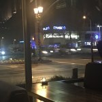 Street view from inside restaurant