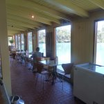 Dinning area overlooking the pond.