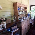 Our shop, featuring vintage china and handmade pillows