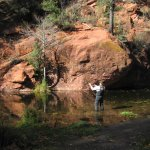 Fly fishing in Oak Creek Canyon nearby B&B.
