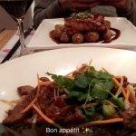 Double wok (nouilles au boeuf) et Saumon T
