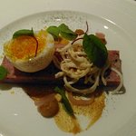 Ham hock terrine with duck egg and celeriac