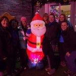 Walking group girls and santa
