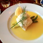 Turbot with horseradish, butter sauce and asparagus.
