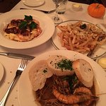 Truffle Fries, BBQ Shrimp, Shrimp & Grits