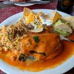 Seafood stuffed chili relleno, amazing!