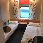 Twin porthole cabin - sparse but functional.