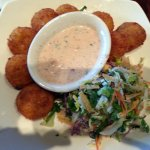 3 cheese potatocakes appetizer with cole slaw