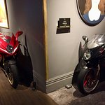 Motor cycles are part of the hotel decor