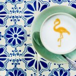 Flamingo on Cappaccino - only at Cafe Madeleine!