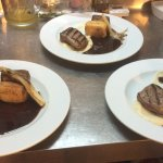 Fillet steak, fondant potato, braised chicory, celeriac puree and Pedro Ximenez sauce
