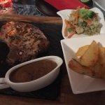 Rib steak with sauce