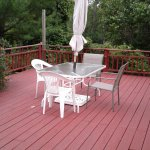 Enjoy the fresh air on the large deck.  Perfect for star-gazing at night.