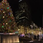 Christmas Lights of Downtown Detroit. Panoramic view