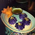 Purple stuffed dumplings, authentic recipe, no artificial colour.